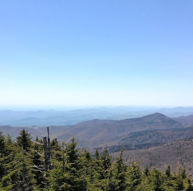 The view from Mount Mitchell, N.C., the tallest peak east of the Mississippi (accessible from the Blue Ridge Parkway).