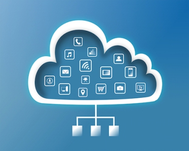 Cloud with digital technology icons