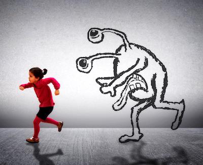 girl running from imaginary monster